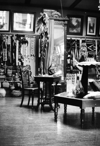 Interior of H.H. Bennett's studio gift shop with Indian souvenirs.