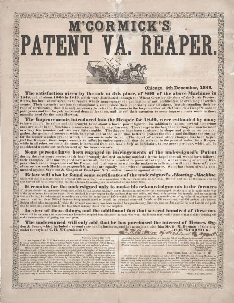 Advertising handbill for Cyrus Hall McCormick's patent Virginia Reaper. Printed for C.H. McCormick & Co. by James J. Langdon, Chicago, Illinois.