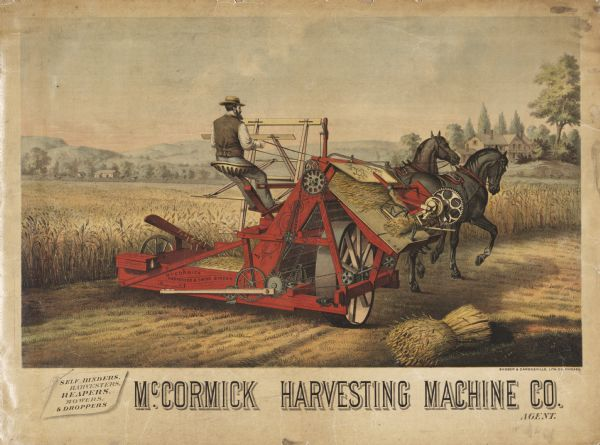 Advertising poster for the McCormick Harvesting Machine Company featuring a color illustration of a well-dressed farmer riding a binder pulled by two horses. The poster was printed by Shober and Carqueville for the McCormick Harvesting Machine Company.