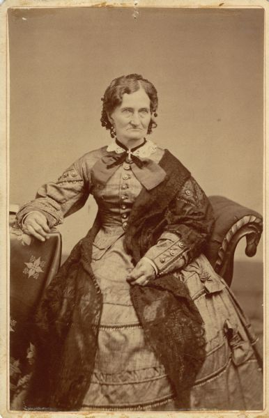 Mrs. Roseline Peck, born 1808 - died 1898, first white woman in Madison, Wisconsin. She was the wife of the first tavern keeper, Eben Peck.