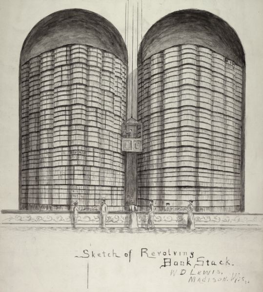 "Sketch of two huge round revolving book stacks with an elevator. This was apparently a ""library of the future"" idea and was probably never actually built."