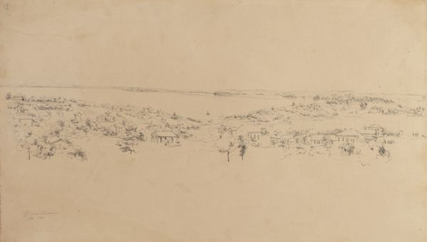 Pencil drawing of view overlooking Madison. The sketch looks down North Hamilton Street from the capitol.  Rutted, irregular streets and frame houses mark this landscape.