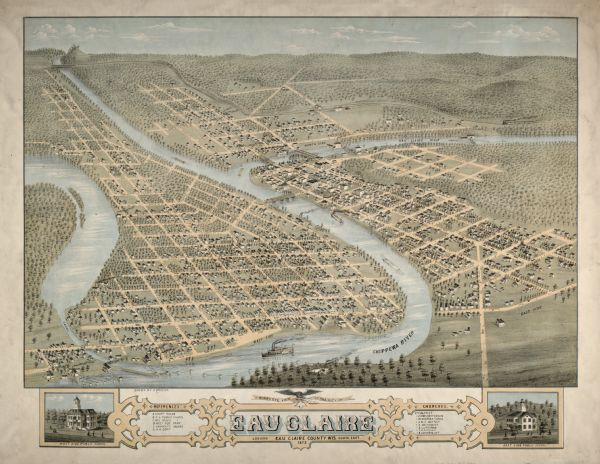 BirdsEye View of the City of Eau Claire Wisconsin Map or Atlas