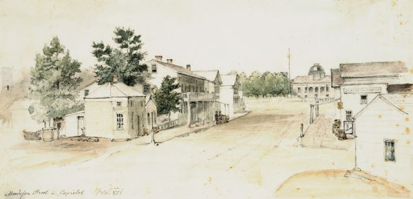 A watercolor view of Madison. Prominent on the left side of King Street is the Madison Hotel.