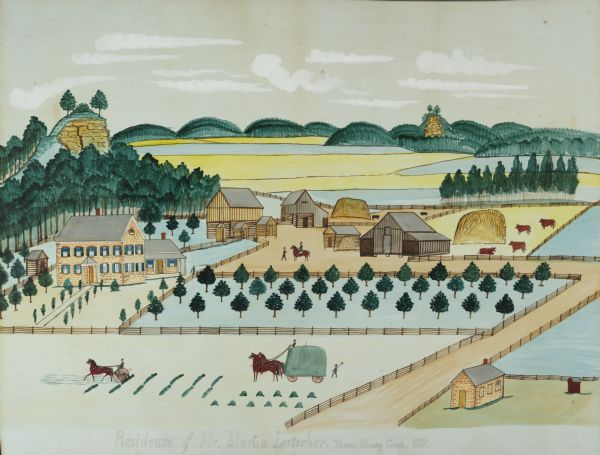 "Seifert's watercolor is fairly large, measuring 27"" wide by 21"" high, and provides a detailed depiction of a nineteenth century Wisconsin farm. The small structure immediately to the left of the house is likely a smokehouse used for curing and preserving meats butchered on the farm. The barn to the immediate right of the house shelters the horses. Next is the hog barn, and the large barn with side cribs for corn houses cattle. A large apple orchard extends from the house to the driveway. Two large piles of straw sit in the barnyard near the hogs and the cattle. In the center of the image, two men confer. Perhaps the man on horseback is Martin Luetscher II, the farm owner.  In the foreground, workers -- or perhaps the Luetscher sons, Martin III (b. 1858), Jacob (b. 1862), or young John (b. 1869) -- are raking and loading hay. The driveway in the foreground is today known as County Road PF. The painting also depicts two exposed limestone bluffs. The bluff nestled in the wooded hills in the distance is the Sauk County landmark Tower Rock. The small stone building in the lower right corner is Pine Grove School.  Martin II was a lead the effort to organize a school district and donated a portion of his land for the school building. The painting shows the second school - built in 1863 and torn down in 1880 to make way for a larger school."