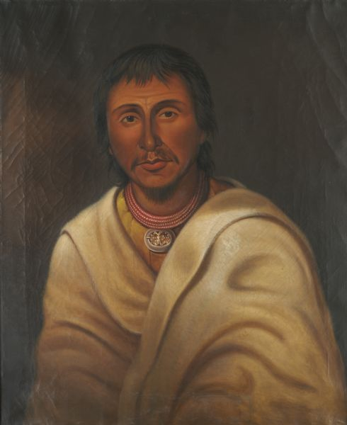 Painted portrait of Wa-me-ge-sa-ko, or The Wampum, the head chief of the Chippewas, Pottawattamies and Ottawas.