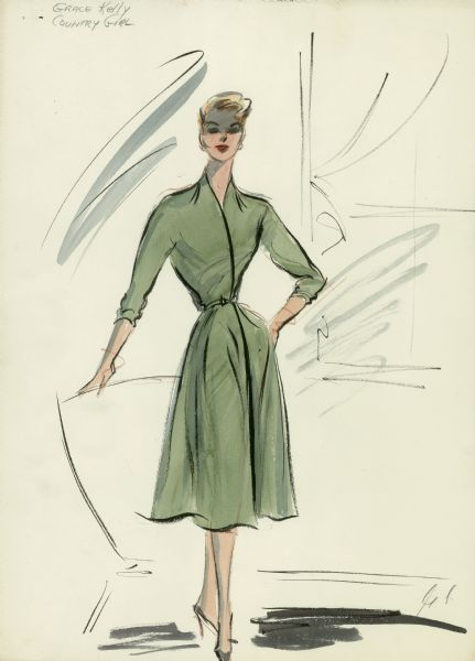 "Green wrap-around dress, fitted at the waist, shown with grey shoes. Edith Head design for Grace Kelly in ""The Country Girl"" (Paramount 1954)."