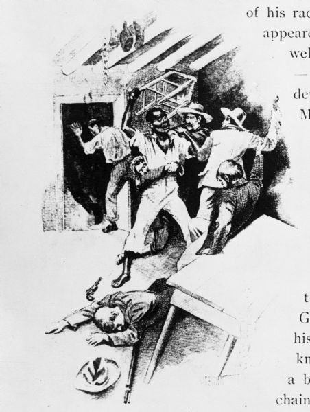 Drawing showing escaped slave Joshua Glover being seized at Racine.