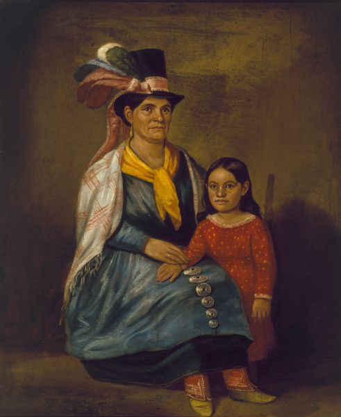 Portrait of wife and daughter of Austin E. Quinney, chief of the Stockbridge nation.