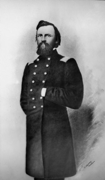 Portrait of Colonel Hans Christan Heg, commander of the 15th Wisconsin Volunteer Infantry in the Civil War. Heg was fatally wounded at the Battle of Chickamauga on 19 September 1863 and died the next day.