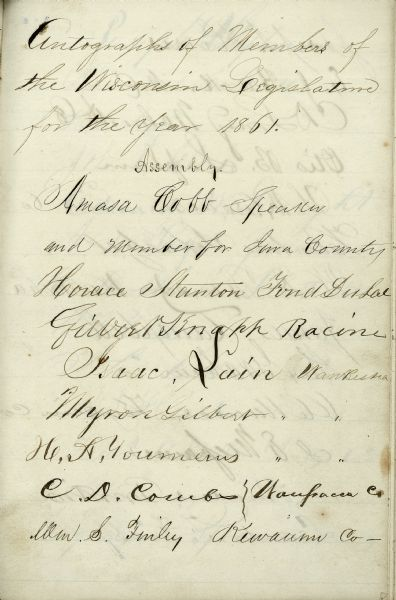 A page of autographs of the members of the 1861 Wisconsin Legislature.