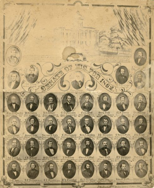 Composite photograph of the members of the Wisconsin Senate of 1862.