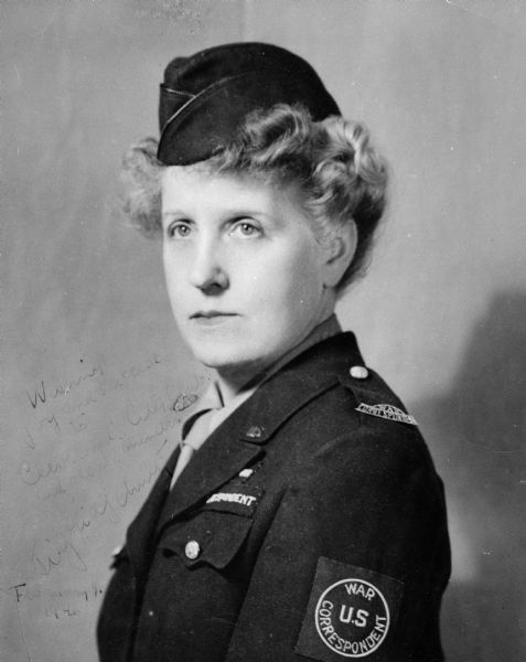 Studio portrait of Sigrid Schultz in her U.S. War Correspondent uniform.