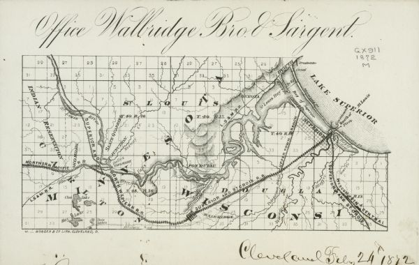 Map entitled Office Wallbridge Bro. U. Sargent showing upper Minnesota and Wisconsin, as well as Lake Superior.