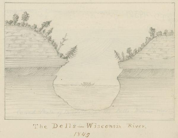 Pencil sketch of a cross-section of the Dells of the Wisconsin River.