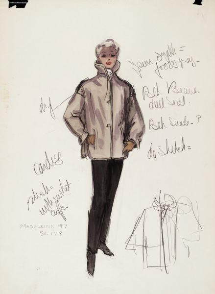"Pencil, ink, gouache, and watercolor design for a beige jacket with black slacks designed by Edith Head for Kim Novak in ""Vertigo"" (Paramount 1958)."