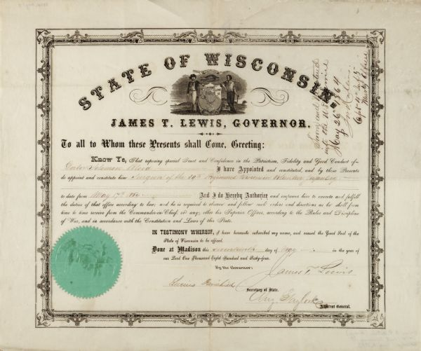 Document certifying that Governor James T. Lewis appointed Dr. Solomon Blood as Surgeon of the 39th Regiment, Wisconsin Volunteer Infantry. The document bears an embossed great seal of the State of Wisconsin.