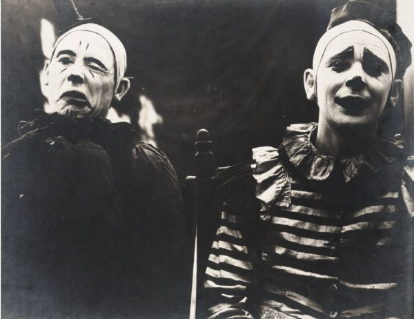 "Two early Ringling Brothers' circus clowns, whose photographs appeared in the ""Ringling Annual"" under a section titled ""Last of the Old-Time Clowns""."