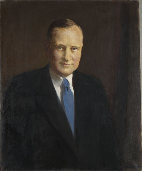 Painted portrait of Orland Steen Loomis in a suit and blue necktie.