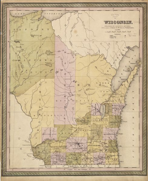In 1849, northern Wisconsin was composed of huge sectional regions such as Chippewa, Portage, Brown and Crawford, whereas southern Wisconsin was constituted by the counties we know today. This 1849 map shows the sectional and county makeup of Wisconsin the year after it became a state.