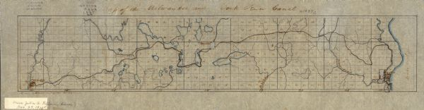 Map of the proposed route of the Milwaukee and Rock River Canal.