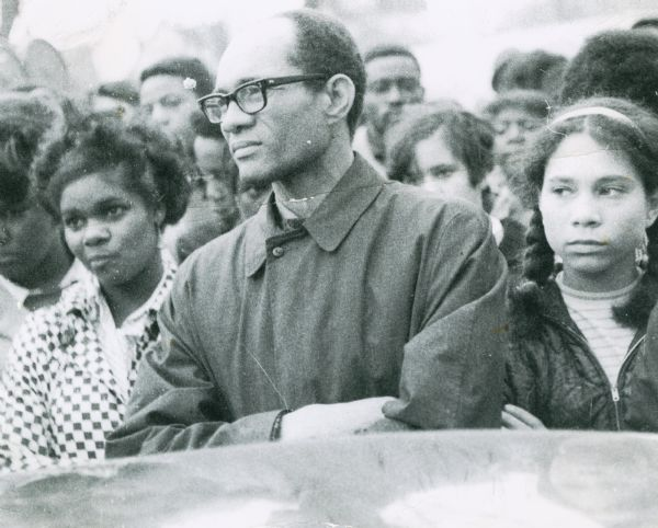 Lloyd Barbee in a somber crowd at a memorial gathering for Dr. Martin Luther King, Jr.