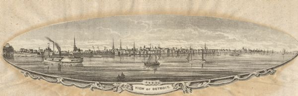 View of Detroit with several boats and ships in (probably) the Detroit River.
