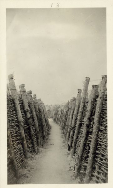 "A French trench.  Captioned: ""Notice the workmanship on this French trench - and imagine the water in the springtime."""