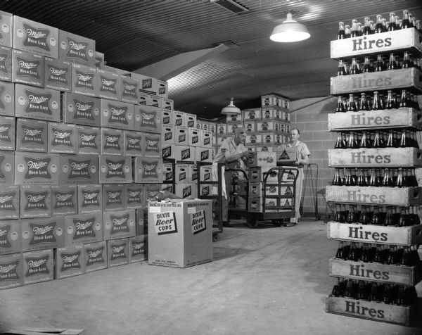 Warehouse of a Milwaukee distributor of beer (Miller, Schlitz, Pabst) and soft drinks.