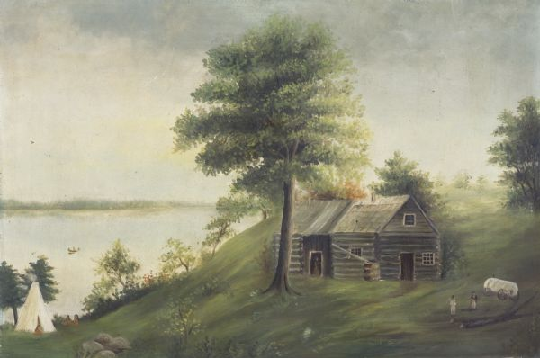 "Back of painting reads: ""Madison in June 1837 after photo taken by E.E. Bailey"" and ""Peck's cabin by Dengel."" The Eben Peck cabin was the first house built in Madison, Wisconsin. <p>Based upon later correspondence with a relative of artist, Isabella Dengel (1878-1904) painted this painting using a photo or engraving of E.E. Bailey's painting. Isabella painted this painting for George Burrows in exchange for another painting he had given her. The Dengel farm was on the site of the present Burrows Park. The State Historical Society of Wisconsin received the painting after the 1919 death of Burrows' son, George T. Burrows, according to terms set forth in the elder Burrows' will."