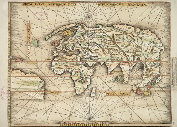 "This exquisite woodcut map is one of the first to show any part of North America. It originally appeared in the 1513 Strasbourg edition of Ptolemy's Geographia. The mapmaker, Martin Waldseemuller, made a trial version of this map in 1507 which contains the name ""America"" printed over Brazil; the only known copy is at Brown University. In the same year he printed a large wall map showing both North and South America; the only known copy is at the Library of Congress. After six years of further work, Waldseemuller finished his edition of Ptolemy in 1513. He supplemented its 27 ancient maps with 20 ""modern"" ones, including two showing discoveries by Columbus and Vespucci. This is the first of those, called ""Hydrographia sive Charta marina"" in the table of contents. The map that followed it in the volume, ""Tabula Terre Nove,"" shows South America and the Caribbean in greater detail. The Wisconsin Historical Society ownership stamp was applied in 1896, but no other provenance data appears to survive. A clipped catalog description pasted in the right margin (listing its price at 30 francs) suggests that it had passed through the hands of a French dealer."