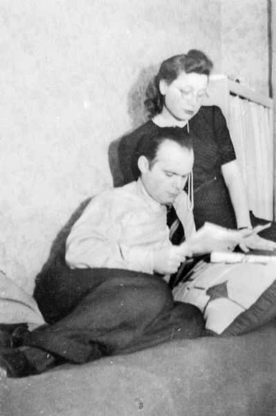 Martin and Eva Lauffer Deutschkron in a Berlin apartment shared with his parents.
