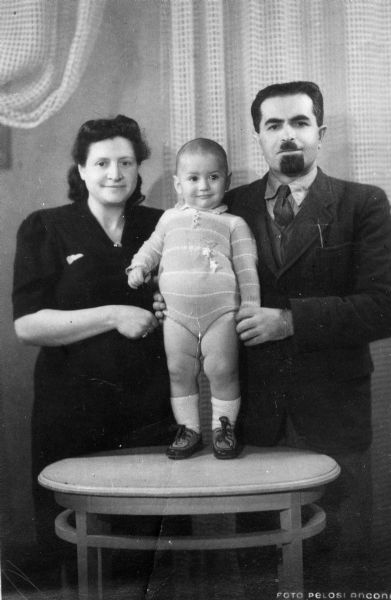 Ida and Rabbi Mayer Relles with son Nathan; Ancona, Italy.