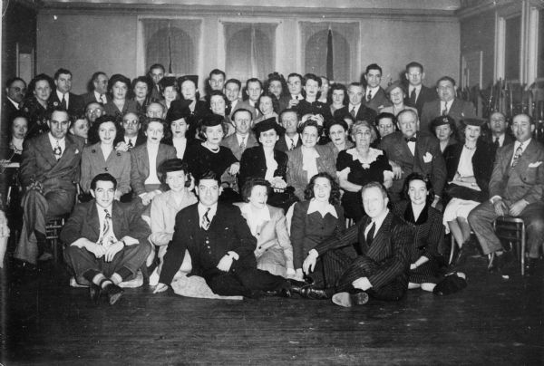 Members of newly formed Temple Beth El. Holocaust survivor Rabbi Manfred Swarsensky is seated in the front row, third from the left.