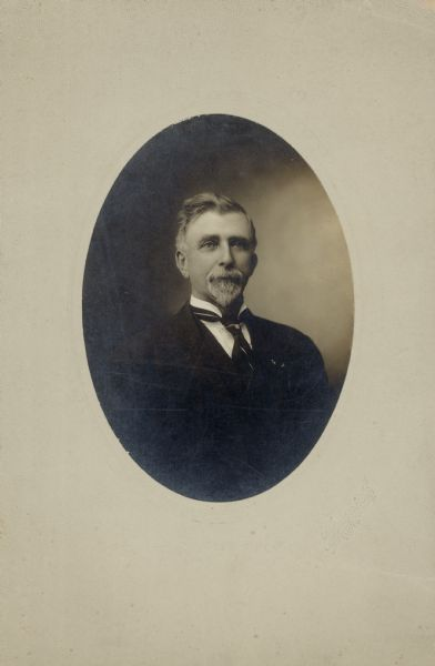 Portrait of the Honorable Charles Donohue, Mayor of New Richmond, Wisconsin. Donohue was born December 5, 1843 in Goosebury Hill, Co. Cork in Ireland and died on February 12, 1915 in New Richmond, Wisconsin.