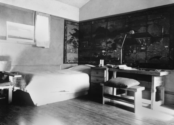 Interior of one of the apprentice's rooms at Taliesin. Taliesin was the summer home of architect Frank Lloyd Wright and the Taliesin Fellowship. Taliesin is located in the vicinity of Spring Green, Wisconsin.