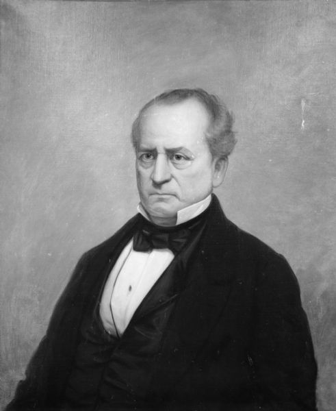"""Tallmadge, Nathaniel Pitcher (Feb. 8, 1795-Nov. 2, 1864), lawyer, politician, U.S. Senator from N.Y., territorial governor of Wisconsin, b. Chatham, N.Y. He graduated from Union College, Schenectady, N.Y. (B.A., 1815), studied law, was admitted to the bar in 1818, and set up a law practice in Poughkeepsie. A Democrat, Tallmadge served several terms in the New York legislature, and two terms as U.S. Senator from New York (Mar. 1833-June 1844). Despite his Democratic political affiliations, Tallmadge was a vigorous critic of Martin Van Buren and John C, Calhoun, and in 1840 was offered the nomination for vice-president as running mate of William Henry Harrison, but declined. In June, 1844, he resigned his senatorship to accept an oppointment <i>[sic]</i> by President John Tyler as governor of Wisconsin Territory, serving in that capacity until 1845. As territorial governor, Tallmadge urged railroad development, opposed a 21-year naturalization period, and recommended the founding of agricultural societies and schools. After being removed from office with the change of national administration in 1845, he made his home in Fond du Lac for several years, where he had extensive land holdings. He spent his later years in Battle Creek, Mich., where he turned to Spiritualism and devoted his time to writing treatises on the subject."" (State Historical Society of Wisconsin, Dictionary of Wisconsin Biography, 1960, p. 346.)"