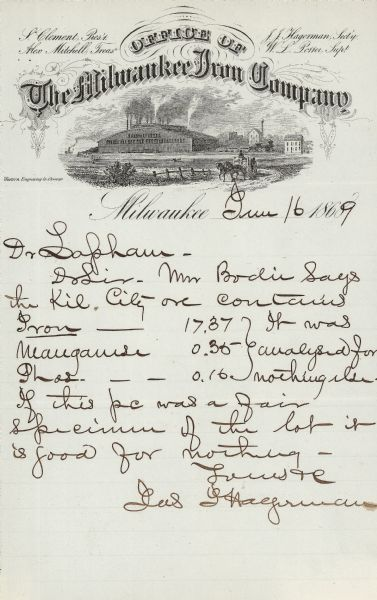 Letterhead stationery featuring an engraving of the Milwaukee Iron Company foundry. The letter is from an officer of the company to noted geologist Increase A. Lapham, and it concerns their common interest in iron ore.