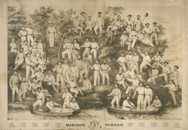 Black & white lithograph by Milwaukee lithographer Louis Kurz depicting the Madison Turners or Turnverein at a shooting party on the Madison lakefront.  The Madison Turners organized in 1855 to foster physical education.  The members are arranged in casual groups that depict drinking, boating, shooting, gymnastic exercise, etc.  The Madison Capitol can be seen in the distance and a sketch of the Turner's Hall appears below the lithograph.  Individual members can be identified by numbers on their belt buckles.