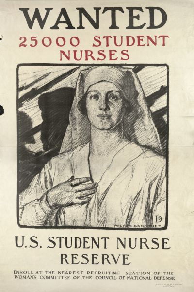 "Poster recruiting student nurses to aid in the war effort. Depicts a young woman, in a nurse's uniform, with her right hand raised to her heart. Behind her in silhouette are soldiers holding up their rifles with bayonets. Text at bottom reads: ""U.S. Student Nurse Reserve. Enroll at the nearest recruiting station of the Woman's Committee of the Council of National Defense."""