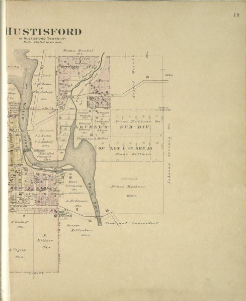 The right half of a plat map of Hustisford in Dodge County.