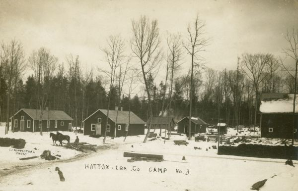 Winter view of Hatton Lumber Company Camp, including a number of buildings and a man riding on a horse-drawn sled.