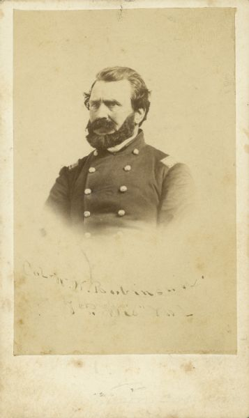 Vignetted quarter-length carte-de-visite of Col. William W. Robinson, Seventh Wisconsin Volunteer Infantry.