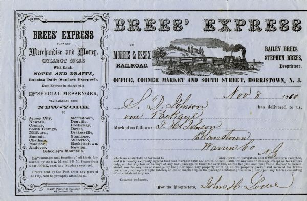 Receipt for a package delivered to Brees' Express via Morris & Essex Railroad. There is an engraving of a train traveling through a rural landscape near the top of the document.