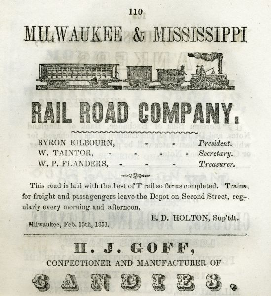 Advertisement for Milwaukee and Mississippi Railroad Company. There is an engraving of a train and a list of the officers of the company.