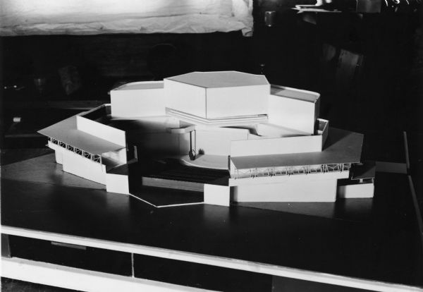 An architectural model of a theater designed by Frank Lloyd Wright.