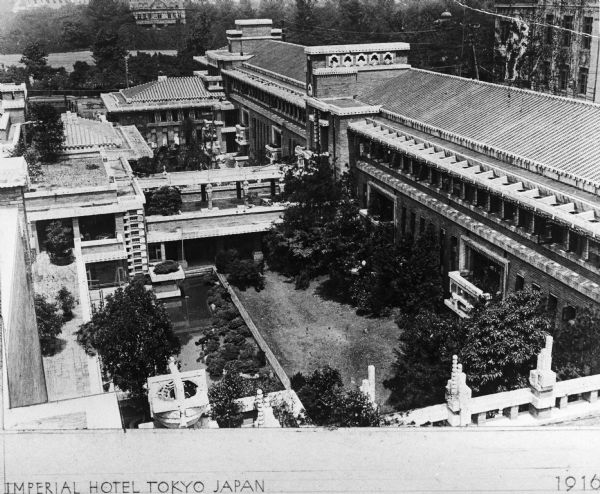 Elevated view of the Imperial Hotel, in Tokyo, Japan, designed by Frank Lloyd Wright.