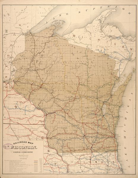 The official railroad map of Wisconsin showing railroad lines throughout the state.