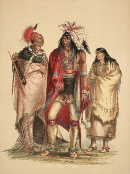 "Portrait of North American Indians (Plate 1).<p>""The group in Plate No. 1 is composed of three Portraits from my collection, representing three different tribes of various latitudes and well illustrating a number of the leading characteristics of this interesting part of the human family.<p>An Osage Warrior, from a southern latitude, entirely primitive in his habits and dress; his head shaved and ornamented with the graceful crest manufactured from the hair of the deer's tail and horsehair (an uniform custom of the tribe) his robe of the buffalo's hide, with the battles of his life emblazoned on it; his necklace made of the claws of the grizzly bear; his bow and quiver slung upon his back, and his leggings fringed with scalp locks taken as trophies from the heads of enemies slain by him in battle.<p>An Iroquois (an almost extinguished tribe) from a northern climate, with long hair; with a ring in his nose, and headdress of quills and feathers, according to the mode of his tribe; with his tomahawk in hand and his dress mostly of civilized manufacture, indicating an approach to civilization to which all the remnants of this and several other contiguous tribes have long since attained.<p>A Pawnee Woman, from an intermediate latitude, in primitive dress made entirely of skins, and in this as well as in the mode of dressing the head and ornamenting the person, a very fair illustration of the general modes and personal appearance of the females who exhibit much less forcibly than the men, the characteristic differences of the various tribes.""</p>"