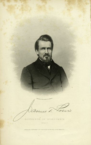 Vignetted carte-de-visite portrait of James T. Lewis. His signature appears below the image.
